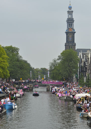 Canal Parade and Westertoren Tower